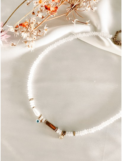 COLLIER EYES AGATE BLANCHE